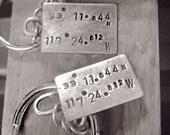 longitude. latitude. silver keychains