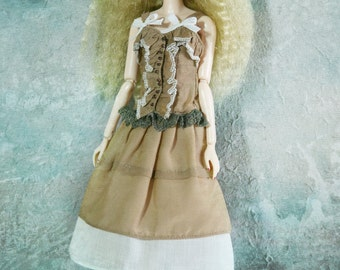 jiajiadoll- LIMITED COLOR light brown lace layered dress fit momoko or misaki or blythe