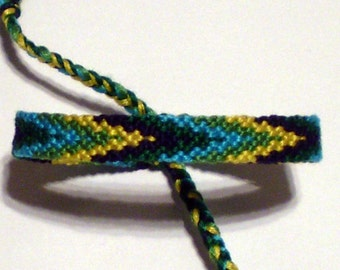 Flame Macrame Friendship Bracelet Navy Green Yellow Turquoise Lime