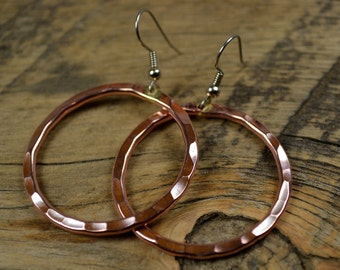 Copper Earrings - Highly Polished - Textured