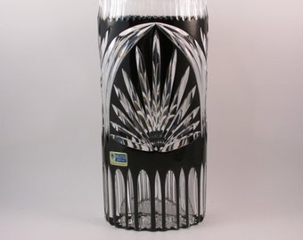 Vintage Lausitzer Crystal Vase Black Cut to Clear 24% Lead Crystal Made in German Democratic Republic