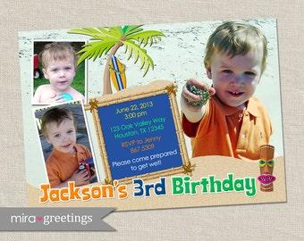 Luau Boy Birthday Party Invitation - Hawaii Invite with Surfboard, Palm Tree, Sand, Pool (Printable Digital File)