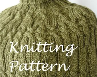 Knitting PDF, Cabled Poncho PDF, Shoulder Caplet Pattern, Turtleneck Poncho PDF, Shoulder Sweater Pattern