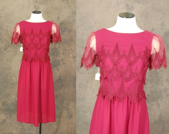 vintage 70s Dress - 1970s Deadstock Red Lace Top Party Dress Sz S