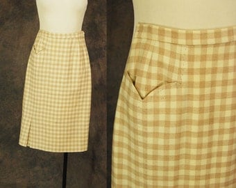 CLEARANCE SALE vintage 50s Pencil Skirt - 1950s Beige and Cream Plaid Wool Skirt Sz XS