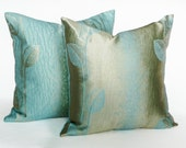 Glam Gold Blue Pillows, CHRISTMAS in JULY SALE, Metallic Leaves On Textured Blue, Reversible Leaves, Modern Cushion Covers, 18x18