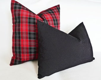 Black Accent Pillows, Black White Pinstripe Pillow, Black Lumbar Pillow 14x20, 18x18, 20x20, Black Cushion Covers, Menswear Inspired Style