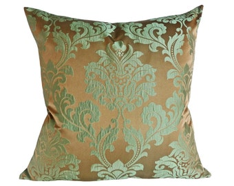 Copper Damask Pillow, 20x20, 22x22, 55x55, Copper Green Throw Pillows, Iridescent, Contemporary Cushion Cover,  Luxury Decorative Pillows