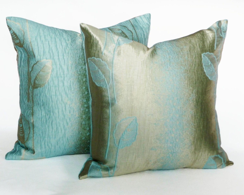 Metallic pillow covers shimmering aqua pillows aqua blue for Blue and gold pillows