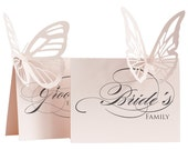 Wedding Bride's Family Sign Butterfly - wedding sign, pastel pink, reception sign, table sign, laser cut sign, groom's family signage, sweet