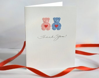Set of 6 - Twin Bear,  Boy and Girl Thank you Cards, Greeting Cards, Note Cards, Baby Shower, Birthdays