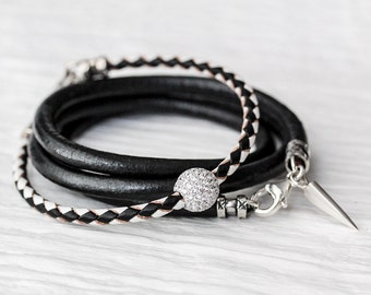 Black White Sterling Pave Bangle Bracelet / Checker Eco Friendly Leather, Modern Geometric Bling Bangle Bracelet / Boho Stacking Bracelet