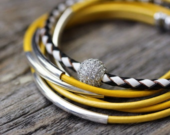 Eco Friendly Leather Bangle Bracelet / Yellow in Sterling Silver Black and White Pave, Bright Bumble Bee Modern Lemon Autumn Yellow Mustard