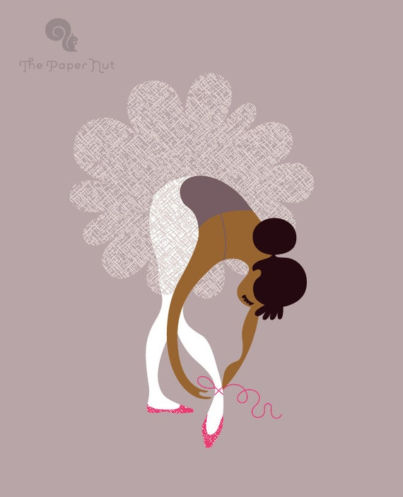 """SALE! 1/3 OFF. 8X10"""" ballerina tying slippers giclée print. dried lavender purple, magenta, mocha or brown latina/african american"""