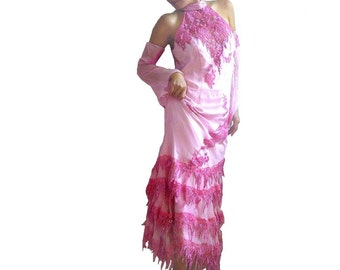 DANIELLA French Vintage Rose Silk Scoop Back Maxi Party Dress with Lace and Embroidery