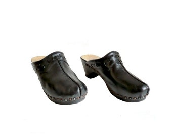 VIRO French Vintage 70s Black Leather Wooden Clogs