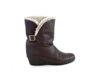 BONNIE French Vintage 60s Brown Leather Boots