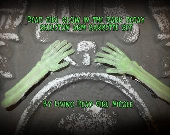 SLASHER SALE - Hair Barrette Set: Dead Girl Glow In The Dark Decay Skeleton Arms