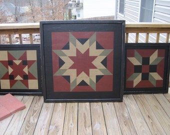 PriMiTiVe Hand-Painted Barn Quilt, Thick Frame 2' x 2' - ANY PATTERN