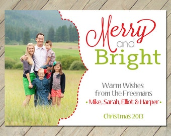Custom Photo Christmas Card - Merry&Bright