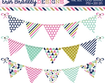 50% OFF SALE Pink Blue and Gold Bunting Clipart Set Personal & Commerical Use Digital Clip Art Graphics Banner Flags