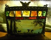 Victorian Woodland Fairy Stained Glass Painted Candle Holder w Curved Glass