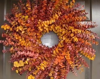 Fall Colors Fall Wreath, Eucalyptus Wreaths, Fall Decor,  Preserved Eucalyptus Wall Decor