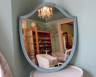 Shabby Chic Shield Shaped Mirror Aqua Blue White Distressed Country Cottage Beach Coastal