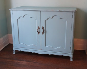 vintage buffet bar Shabby Chic French Aqua Turquoise Blue Distressed Beach Cottage kitchenette serving