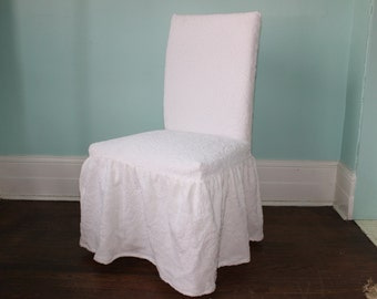 Dinning Chair Slipcover White Vintage Chenille Bedspread Ruffle Trim CUSTOM MADE