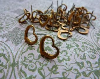 Vintage Copper Open Heart Post Earring (2 Pair)
