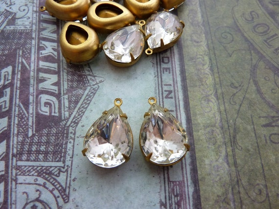 LAST  2 Vintage Crystal Rhinstone in Brass Prong Setting