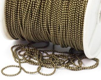 Antique Brass Chain, 10 M (1.2mm) Antique Brass Ball Chain - Z059