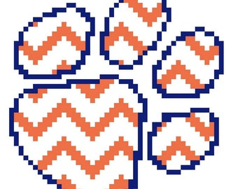 Pawprint ornament - counted cross stitch chart - downloadable chart