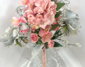 Pink and Gray Wedding Centerpiece Victorian Beaded Peony and Rose Floral Arrangement
