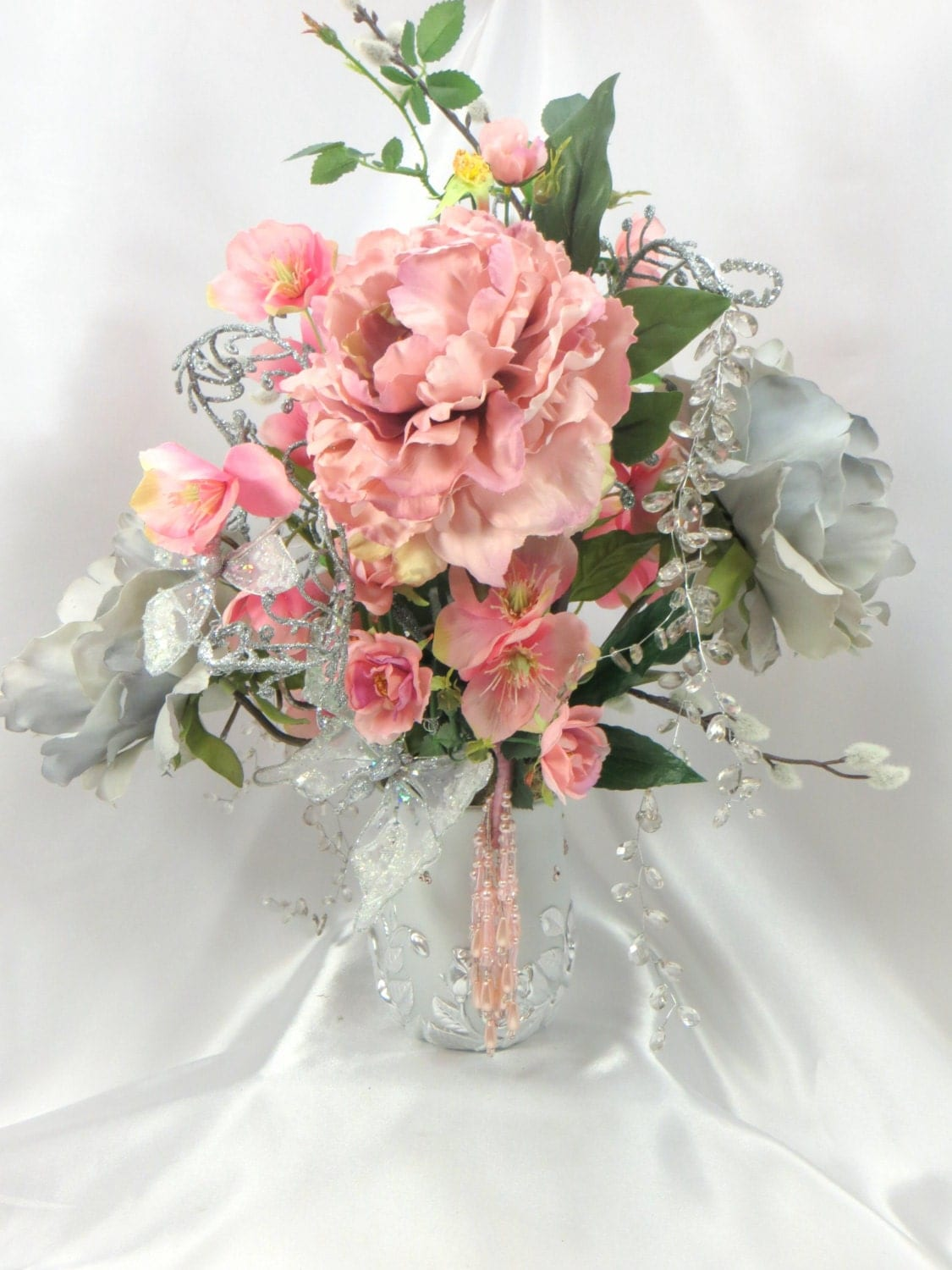 Pink and gray wedding centerpiece victorian beaded peony