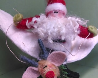 Santa on Flying Reindeer Felted Wool Ornament