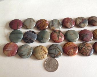Natural Red Creek Jasper 25mm Smooth Round Beads, Jasper Beads, Picture Jasper, Jewelry Supplies