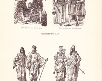 1898 World History Print - Ancient Fashion - Vintage Antique Art Print American History Great for Framing 100 Years Old