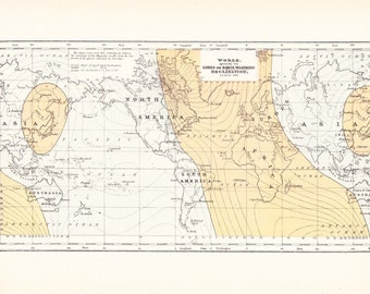 1903 Map World - Magnetic Fields - Vintage Antique Map Great for Framing 100 Years Old