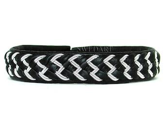 SwedArt B88 Wings Steven Tyler Sami Reindeer Leather Bracelet w Antler Button Black LARGE