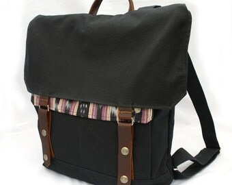 Midnight Ikat Waxed Canvas Backpack