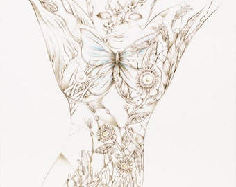 "Botanicalia ""Rochela"" Original Drawing 19""x24"""
