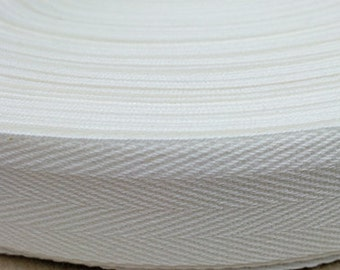 TWILL TAPE- 100% Cotton Twill Tape - Earth Friendly Ribbon-  100 yards (Select Width and Color)~White~ Natural~ Black