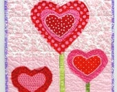 "Valentine's Day wall quilt- ""Love Grows"" heart garden in red, pink and green - moonspiritstudios"