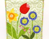 "Spring wall quilt with daffodil, tulip, purple and pink flowers on green - ""Dreamy Spring Garden""  for Spring ready to ship"