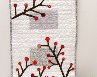 holiday table runner- Made to Order-quilted in white and gray with red berries - Christmas, winter wedding gift, ships free to USA