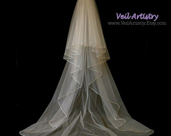Wedding Veil, Radiance Veil, 2-Tier Veil, Satin Cord Edge Veil, Chapel Veil, Made- to-Order Veil, Bespoke Veil