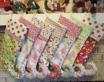 Elf Style Christmas Stockings ,  With Personalized Name
