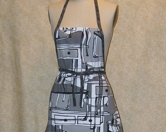 Tables Chef Apron All cotton canvas Ikea fabric grey gray trim matching hot pad